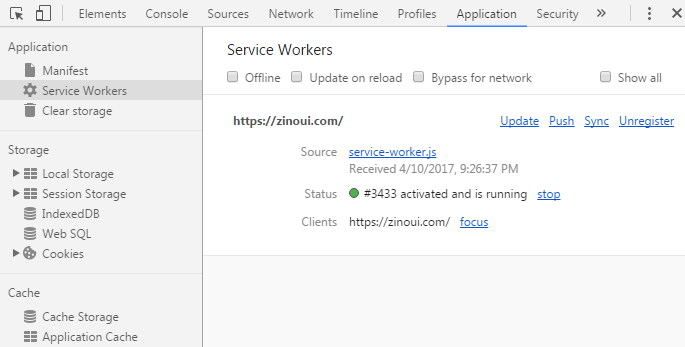 Chrome DevTools - Service Worker