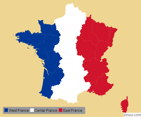 Map of France with legend